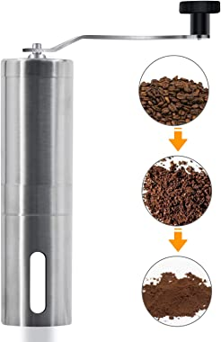 Manual Coffee Grinder - Hand Grinder Coffee Mill, Conical Ceramic Burr Mill for Precision Brewing Stainless Steel for Office,