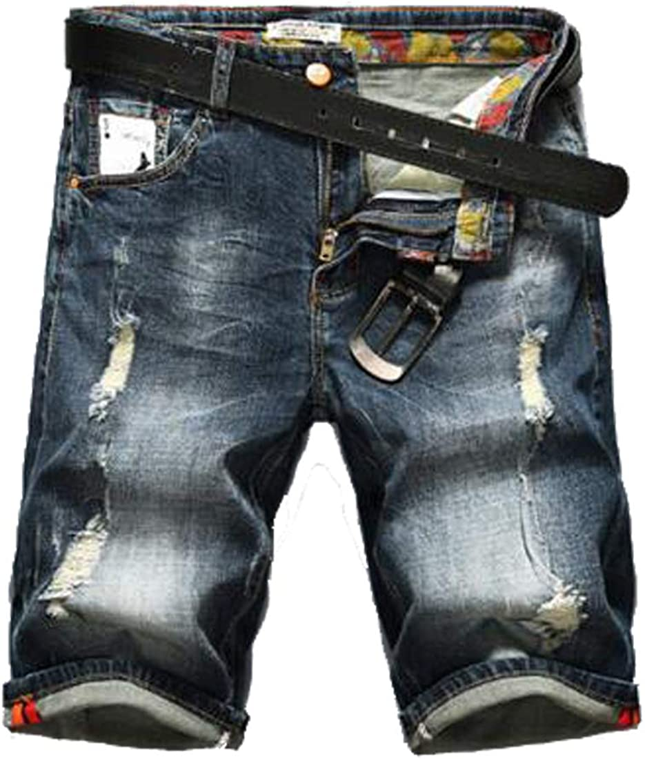 HZCX FASHION Men's Light Weight Slim Straight Distressed Brush Denim Shorts