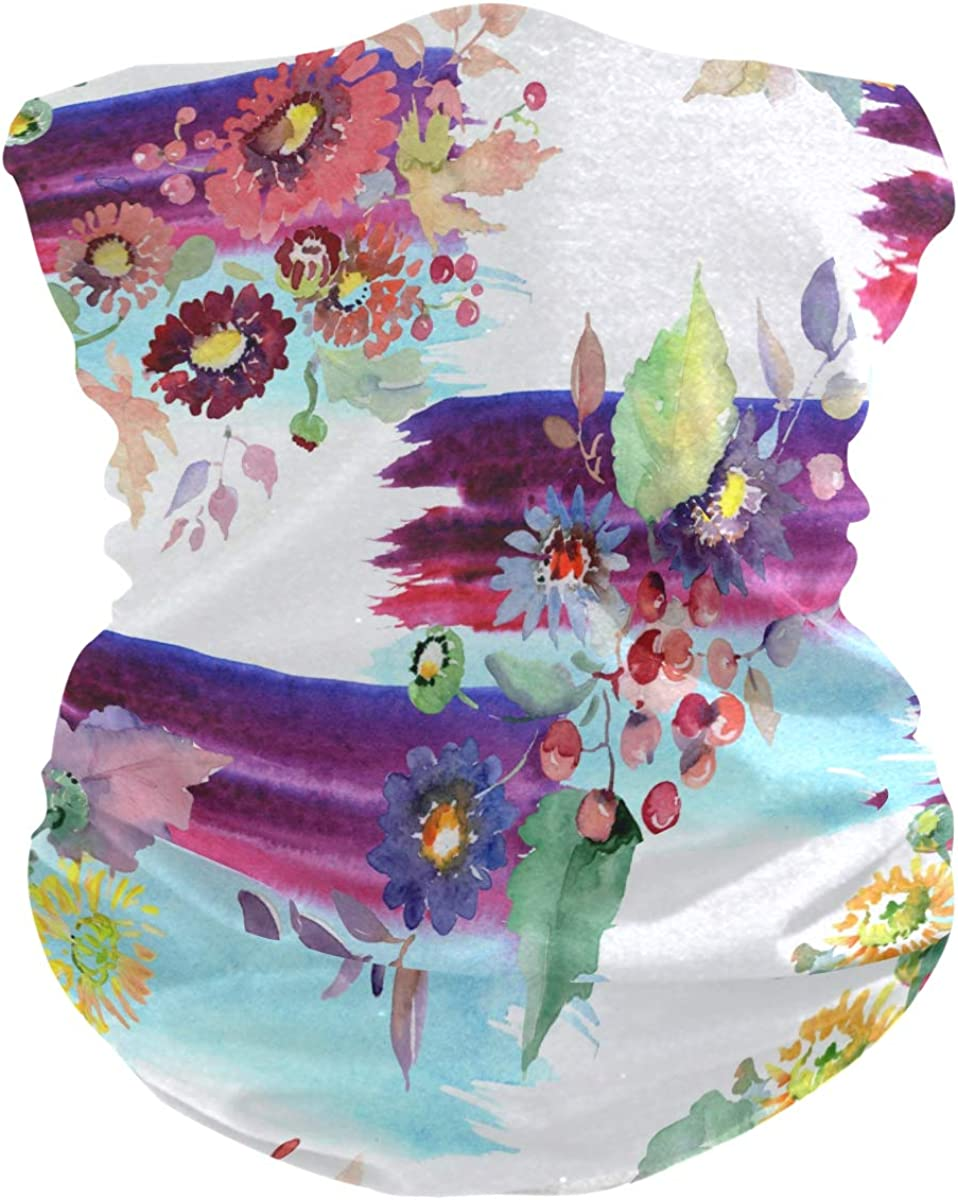 Bandana Face Cover Scarf Neck Gaiter Flowers And Fruits Headwear Headband for Cycling Fishing Hiking Camping