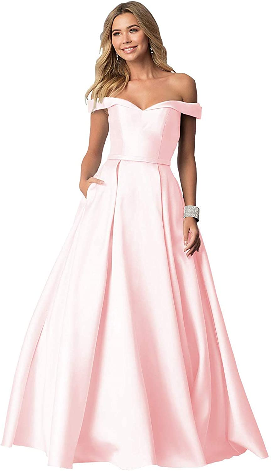 JQLD Women's Sexy Off The Shoulder Long Satin Evening Dresses Formal Prom Gown with Pockets