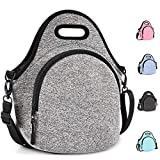 Gowraps Lunch Bags For Women/Men/Kids Neoprene Lunch Tote Bags With Adjustable Detachable Shoulder Straps Reusable Soft Insulated Lunch Bags For School/Picnic/Work(Gray)