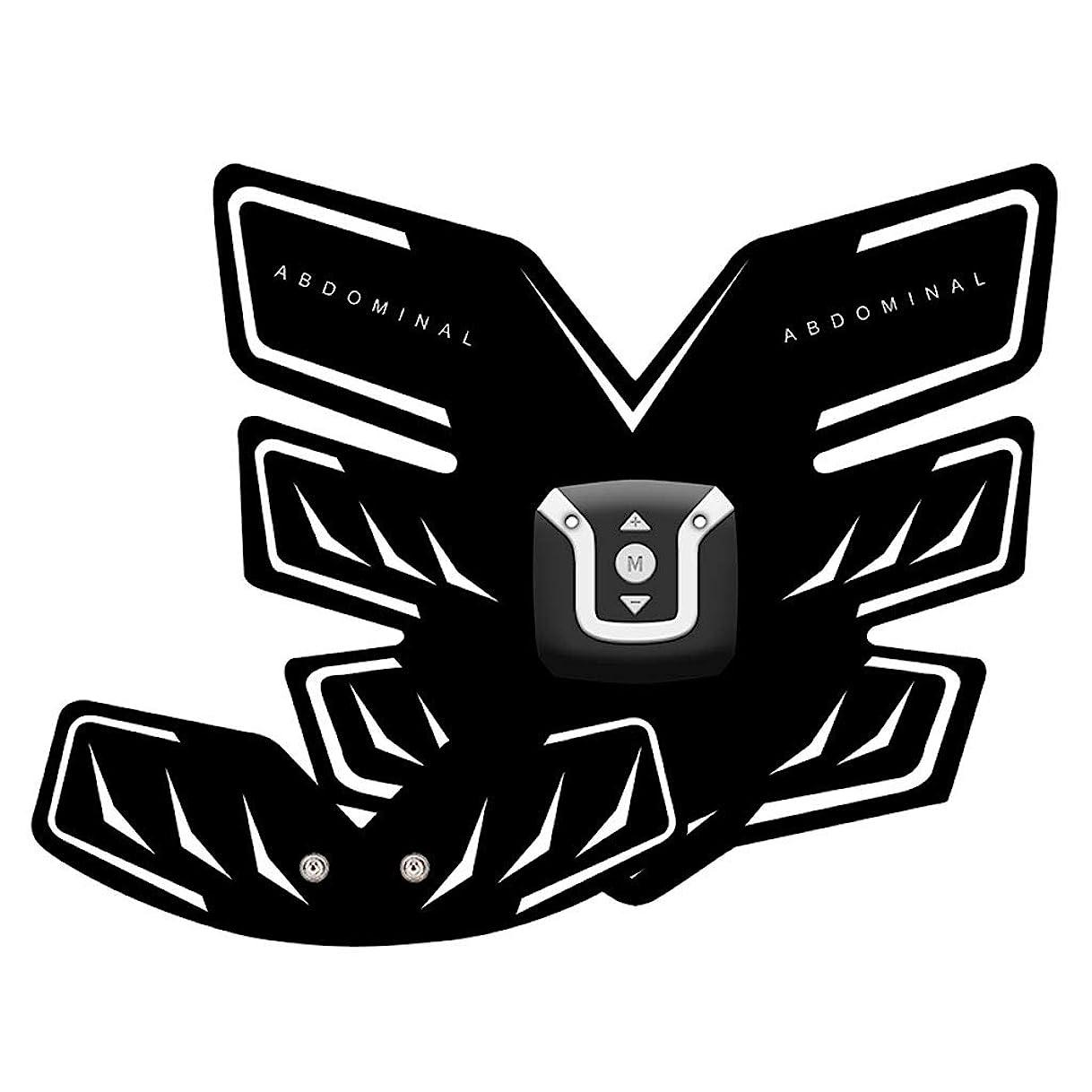 ご注意鉄ビーズUsb充電筋肉トナー腹筋absシミュレータ腹部トレーニングワイヤレスemsトレーニングホームオフィス用腹部腕脚トレーニングホームオフィスエクササイズ (Color : Black, Size : A+B)