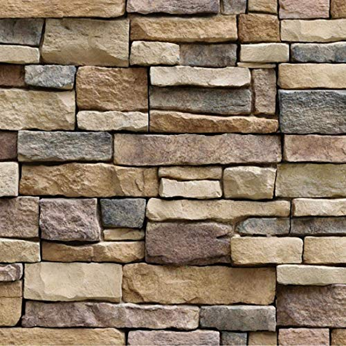 Vimoon Stone Wallpaper, PVC 3D Effect Blocks Peel and Stick Wallpaper for Home Decoration (17.71' Wide x 393' Long)