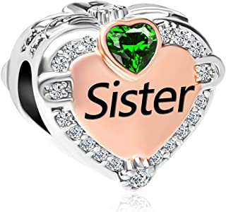 Q&Locket Rose Gold Plated Heart Love Sister Charm Birthstone Charms Christmas Beads for Bracelets