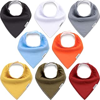 KiddyCare Baby Bandana Drool Bibs for Boys and Girls - 100% Organic Cotton, Soft & Absorbent for Drooling and Teething - Unisex Baby Shower Gift Set - 8 Pack