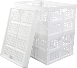 Sandmovie 34 Litre Plastic Collapsible Storage Crates Stackable Storage Bins, White, 3 Packs
