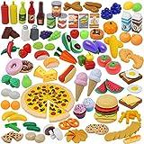 135pcs Corte de Frutas y Alimentos Verduras Pizza Juego de Plástico para Niños 3 Años, Accesorios de Cocina Set de Alimentos de Corte Juguete del Bebé
