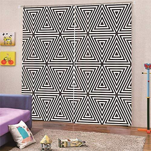 QRTQ kamer thermische geïsoleerde verduisterende venster gordijn voor woonkamer zwart en wit driehoek patroon 3D effect afdrukken gordijn woonkamer slaapkamer raam gordijnen