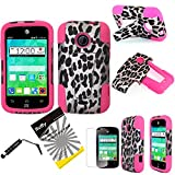 3items Combo: ITUFFY(TM) LCD Screen Protector Film + Stylus Pen + 2 tone Design Dual Layer KickStand Tuff Impact Armor Hybrid Soft Rubber Silicone Cover Hard Snap On Plastic Case for 2nd Generation ZTE Whirl2 Z667G / ZTE Prelude2 Z667T / ZTE Zinger Z667 (Pink Leopard Cheetah Spot - Hot Pink)