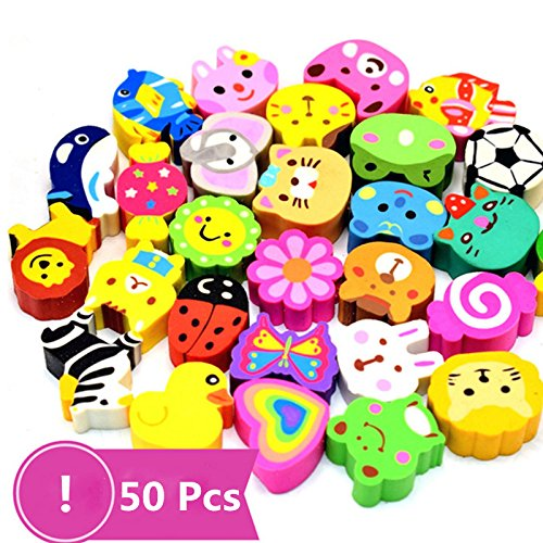 50 Pack Assorted Cartoon Animal Erasers Pencil Toppers kit Pencil Top Erasers, Gift/Award to Kids