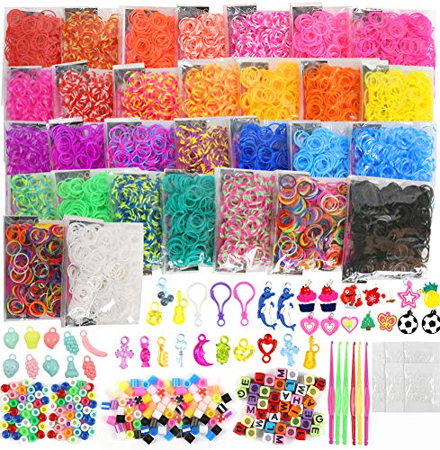 Koogel 12600+ Rainbow Rubber Bands Refill Set, 11800 Premium Quality Loom Rubber Bands 500 S Buckles 300 Beads Pack 35 Pendants 6 Small Crochets Organizer for DIY Bracelets Jewelry Dolls Hats