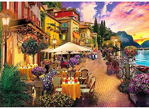 HUADADA Puzzle 1000 Teile Italien Comer See Kleinstadt,Farbenfrohes Puzzle für Erwachsene und Kinder ab 14 Jahren,Geschicklichkeitsspiel für die ganze Familie 70*50 cm,Familienspiel,Geschenk.