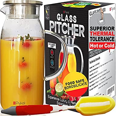 Glass Water Pitcher with TIGHT Lid [60 ounces] - Heat Resistant Carafe..also for Juice, Milk, Iced Tea (Luxury Packing + FREE BRUSH included) by Pykal