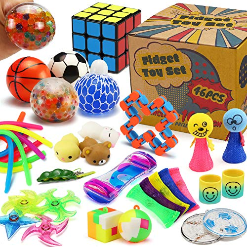 46 Pack Sensory Fidget Toys Set with Gift Box, Stress Relief and Anti-Anxiety Bulk for Kids Teens and Adults, Hand Toy for Office Desk Decor, School Classroom Prizes, Travel Long Trip Stuff, Autism