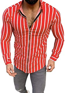 Fashion Stripe Shirt Casual Long Sleeve Tops Men's Slim Printing Stand Neck Button Blouse Beautyfine
