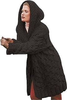 NILIHAI Pullover & Strickjacken für Damen Strickpullover Strickjacke mit Kapuze Schalkragen Grobstrick blusen Tops locker ...