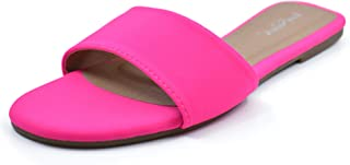 Women's Slip-On Open Toe Single Band Flat Slide Sandals