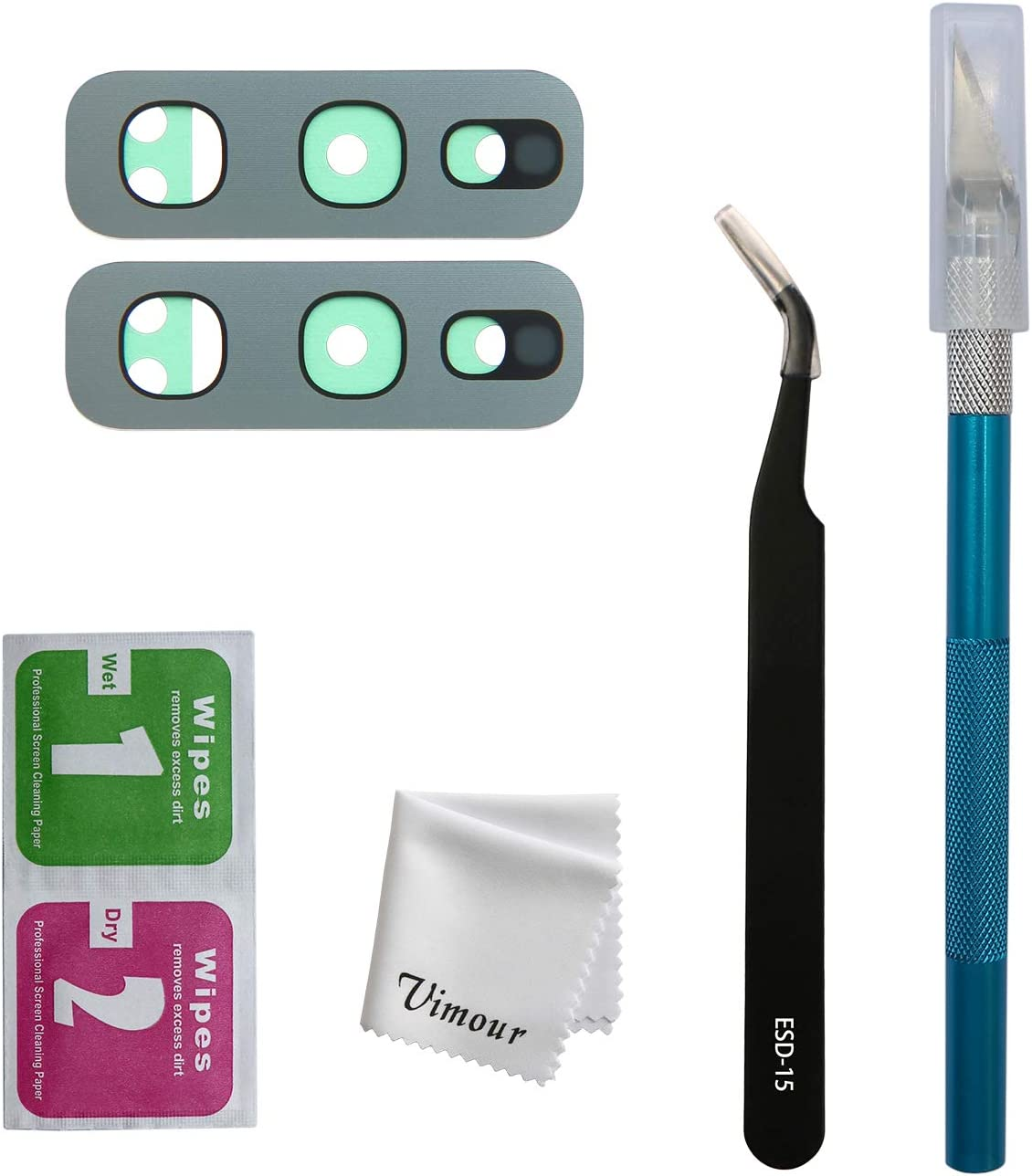 Vimour 2 Pieces OEM Rear Camera Glass Lens Replacement for Samsung Galaxy S10e G970U (All Carriers) with Pre-Installed Adhesive and Repair Toolkit (White)