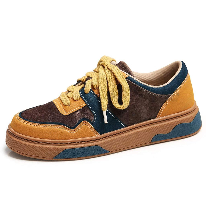 レディースフラットスニーカーファッションPUレザーレースアップカジュアルシューズ学生通気性靴カレッジスタイル
