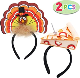 JOYIN Thanksgiving Turkey Headband & Pie Headband Combo Set, 2 Pcs Holiday Headbands for Thanksgiving Accessories and Party Favors (One Size Fits All)