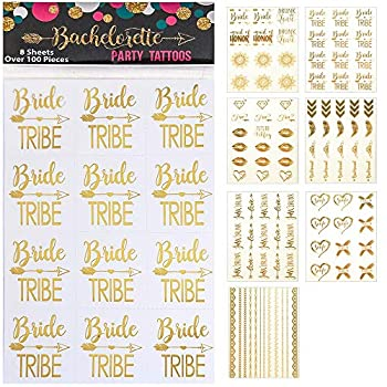 Happy Magnolia 119 pc Bachelorette Party Tattoos/Bride Tattoos  8 Sheets  Perforated Temporary Metallic Gold Tattoos Quick Bridal Shower Party Favor Decorations  Bride Bridesmaid Funny  119 count