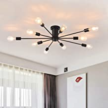 Garwarm Semi Flush Mount Ceiling Light, 10-Light Modern Black Sputnik Chandelier Industrial Ceiling Lamp for Kitchen Dinin...