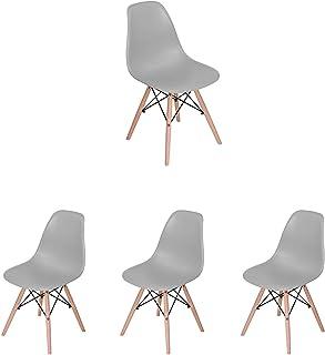 UYZ Silla de Comedor de Estilo Moderno Mid Century Silla Moderna Lounge Silla de plástico para Cocina Comedor Dormitorio con sillas Cómoda Silla de Madera hogar (Gris, 4)