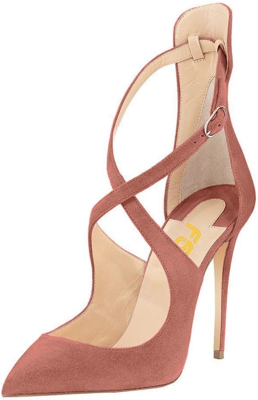 FSJ Women Leopard High Heel Stiletto shoes Strap Sandals Fashion Floral Pumps Suede Size 4-15