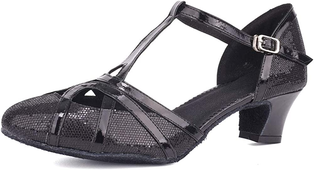 HIPPOSEUS Latin Dance Shoes for Women Glitter Salsa Performance Dancing Shoes,Model CMJ-512