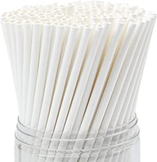 Family Home 10 inch White Paper Straws, Biodegradable Disposable Drinking Straws (Individually Wrapped) 500 Count