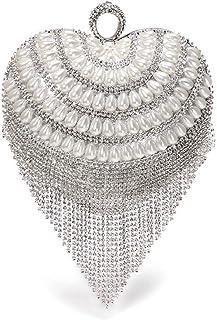 Handbags - Luxury Vintage Metal Ladies Dinner Bag, High-end Heart-shaped Diamond Pearl Flow Su Bag, Gold/Silver, 16x 23CM Shining (Color : Silver)