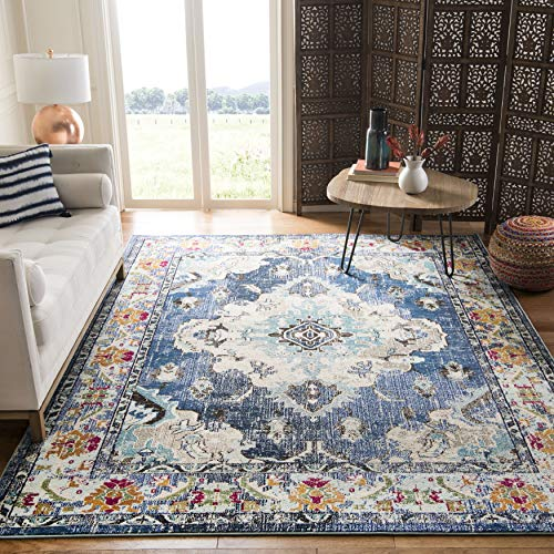 "Safavieh Monaco Collection MNC243N Boho Chic Medallion Distressed Area Rug, 5' 1"" x 7' 7"", Navy/Light Blue"