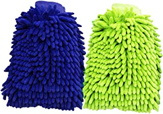 2 Pack of Microfiber Car Wash Gloves, Washing Cleaning Glove Dual Sided Gloves
