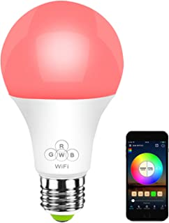 HaoDeng Smart LED WiFi Light Bulb - Timer & Sunrise & Sunset - 50W Equivalent E27, Dimmable, Compatible with Alexa, Google Home and IFTTT (Multicolor, Warm White)