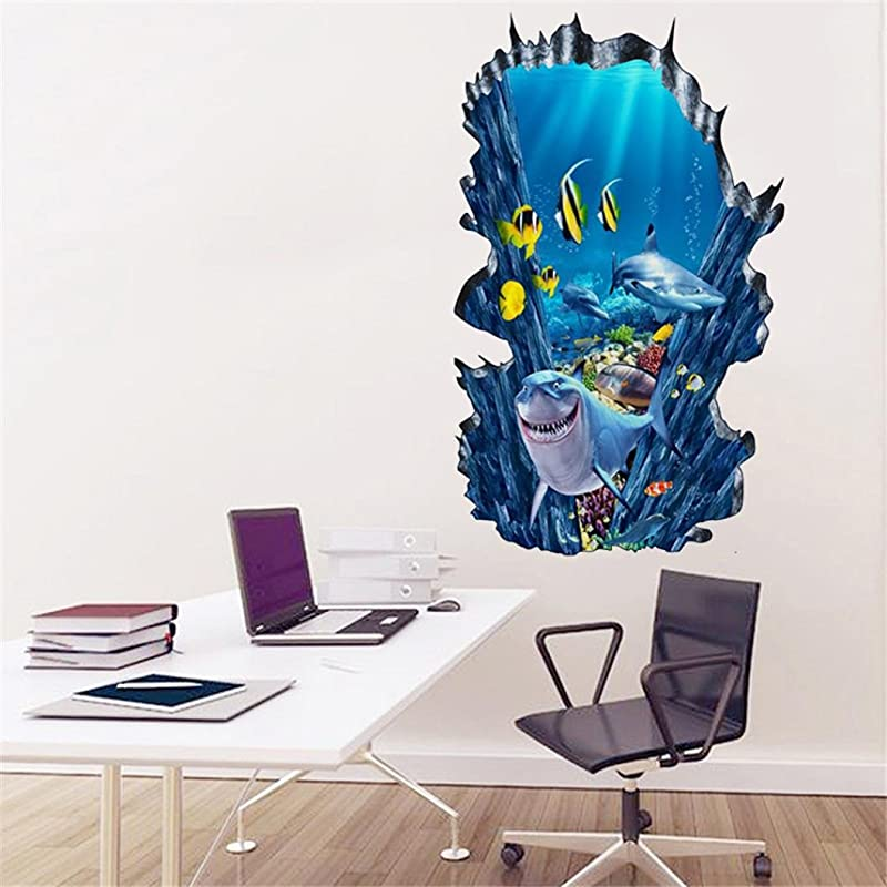 Geyou Wall Stickers Removable 3D The Underwater World Wall Sticker For Kids Home Decor Art Vinyl Mural Decal New A