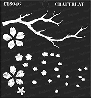 CrafTreat Layered Stencil - Cherry Blossom - Reusable Painting Template for Journal, Notebook, Home Decor, Crafting, DIY Albums, Scrapbook and Printing on Paper, Floor, Wall, Tile, Fabric 6x6 inches