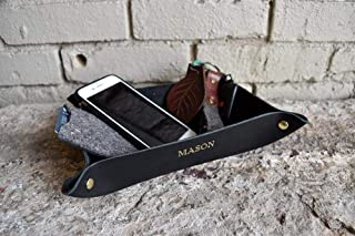Personalized Leather Valet Tray/Desk Organizer | Customized Name or Initials | 100% Genuine Leather | Many Colors: Brown, Black, Tan, Gray & Red | Great Gift | Made In USA | Free Shipping
