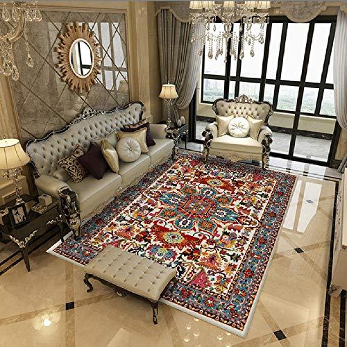 La Alfombra Decoracion habitacion Infantil Alfombra Suave con diseño Floral Rojo y Azul fácil de Limpiar alfombras Pasillo Suelo Radiante electrico 200X300CM