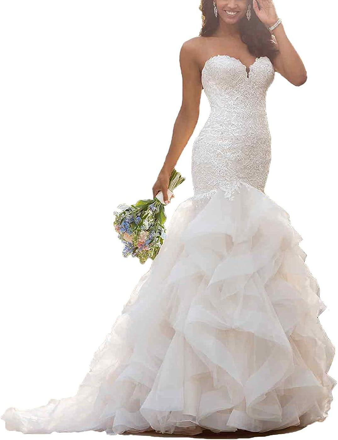 Wanshaqin Mermaid Wedding Dress Bridal Dress Lace Up Corset