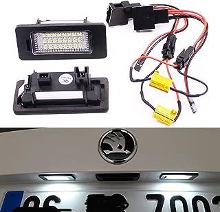 Xinctai 2PCS Super Bright LED Number License Plate Light for Skoda Octavia 3 Superb B6 Rapid Combi Yeti 5L Fabia for Volkswagen VW golf 6 7 MK7 Passat B6 B7 Jetta Sharan Touran Touareg