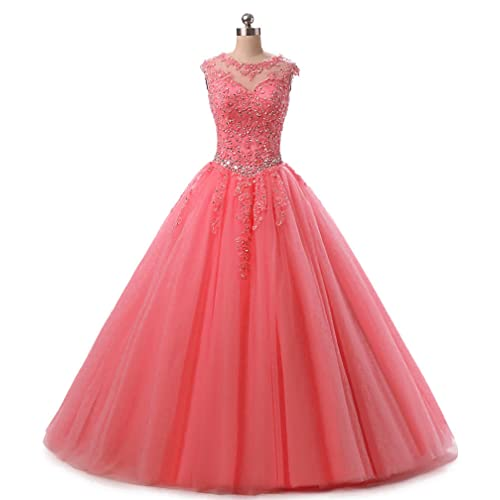 da55d7defe3d HEIMO Lace Appliques Ball Gown Evening Prom Dress Beading Sequined Quinceanera  Dresses Long 2018 H152