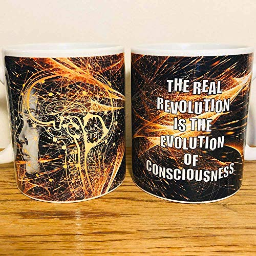 Kaffee Tasse Weisheit The real Revolution is the Evolution of Consciousness Spruch Zitat Buddhismus