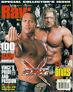 WWE RAW 10th Anniversary Wrestling Magazine (The Rock-Triple H cover, 2002)