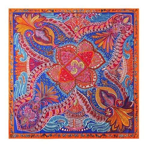 YDMZMS sjaal van zijde, 100% voor dames, grote sjaaltjes met opdruk van Marca Bandana sjaal, halsdoek voor dames, 130 x 130 cm, 18-12