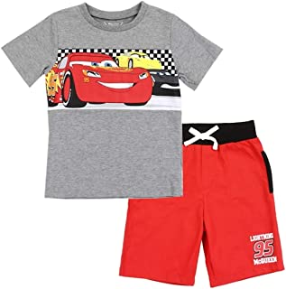 f372e389bcf62 Disney Cars Toddler Boys' Lightning McQueen 2PC Tee & Short Set - Red/Grey