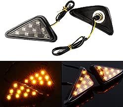 Yolu 2PCS Motorcycle Amber LED Signal Lights Indicator Lights 18-Leds, 12V Triangle Flush Mount Blinkers Indicator Lights, Universal Clear Strobe Marker lights