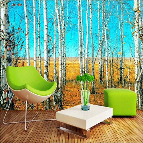 Aangepaste grootte HD Berkenbos 3D Natuur Landschap Fotobehang Grote muur Schilderen Achtergrond Woonkamer Mural Wall Paper 400x280cm