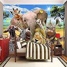 MUMUWU Wall Paper 3D Cartoon Grassland Animal Poster Mural Children's Room Bedroom Wallpaper Murales Papel De Parede 3D (C...