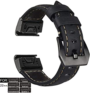 YOOSIDE Fenix 5 Watch Band, 22mm Stainless Steel Metal Quick Fit with Genuine Leather Watch Band Strap for Garmin Fenix 5/...