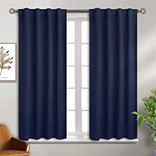 BGment Rod Pocket and Back Tab Blackout Curtains for Bedroom - Thermal Insulated Room Darkening Curtains for Living Room, 2 Window Curtain Panels (38 x 54 Inch, Navy Blue)